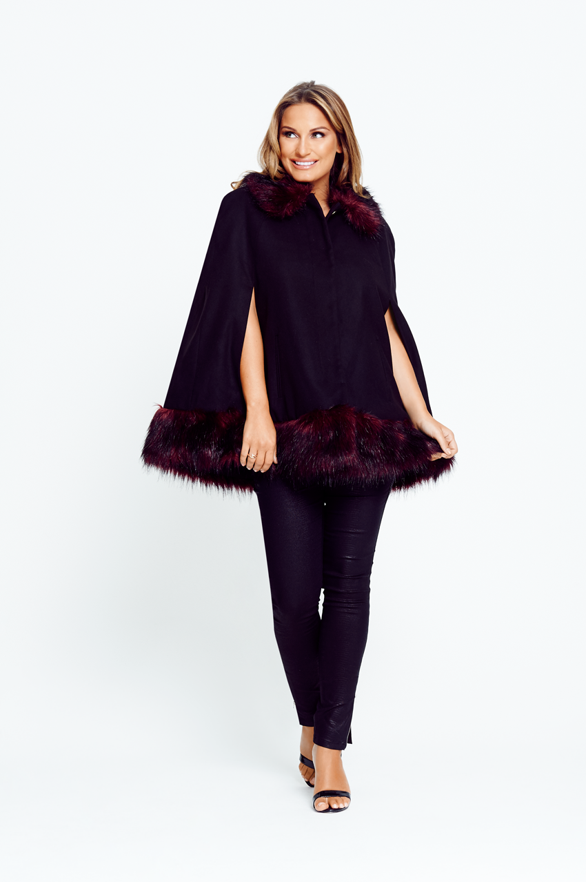 Samantha Faiers Cape With Fur Trim