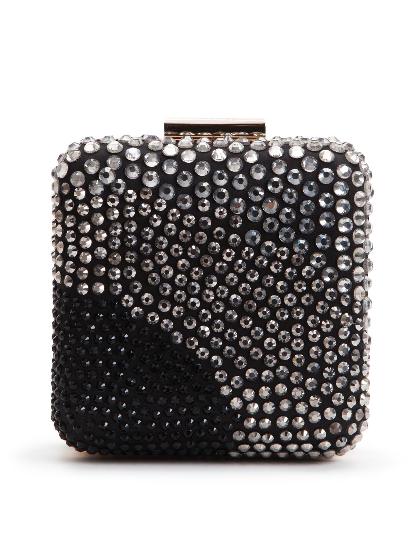 PINKO Crystal Embellished Square Clutch Bag