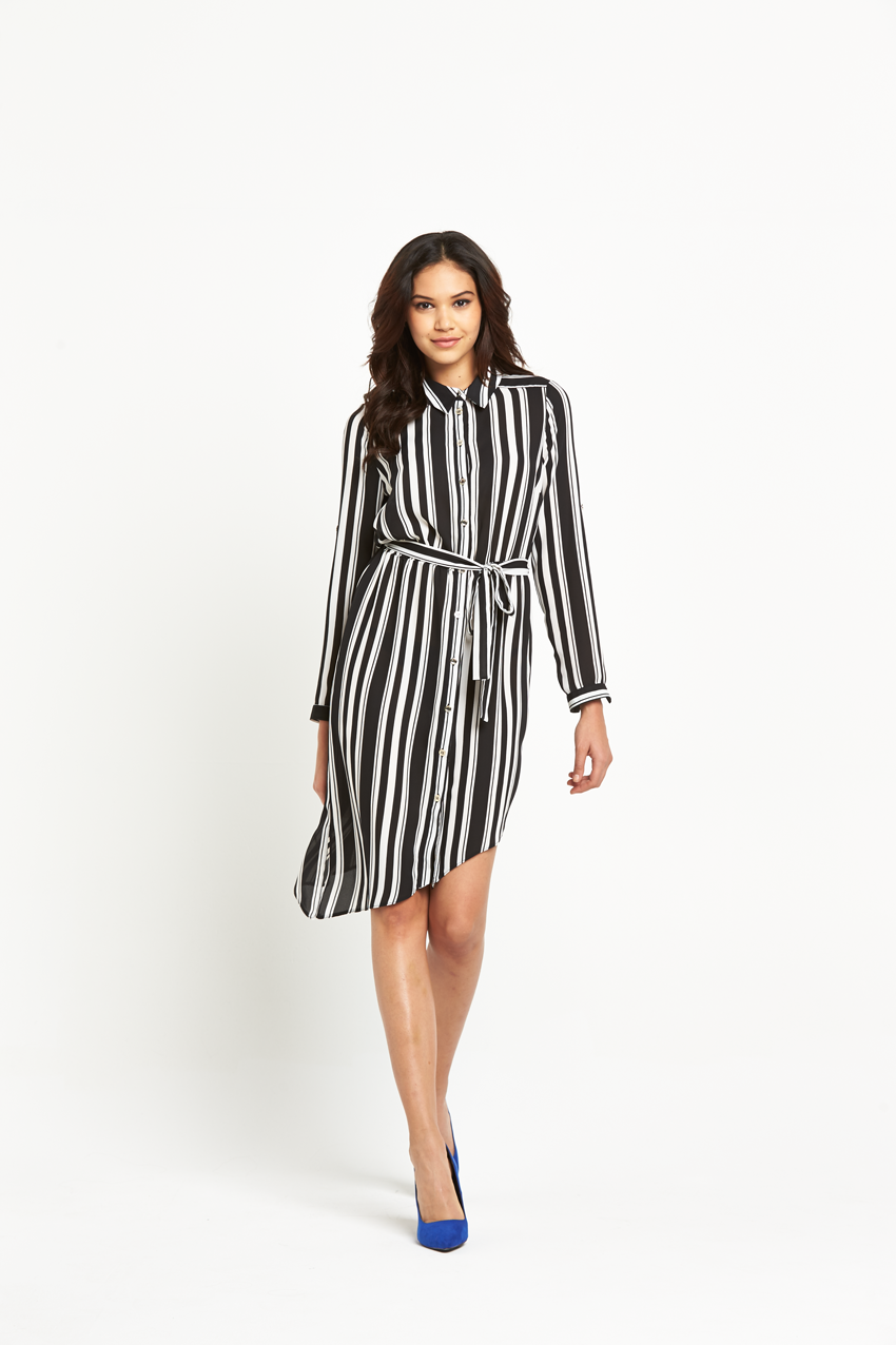Lipsy Mono Long Sleeve Belted Shirt Dress