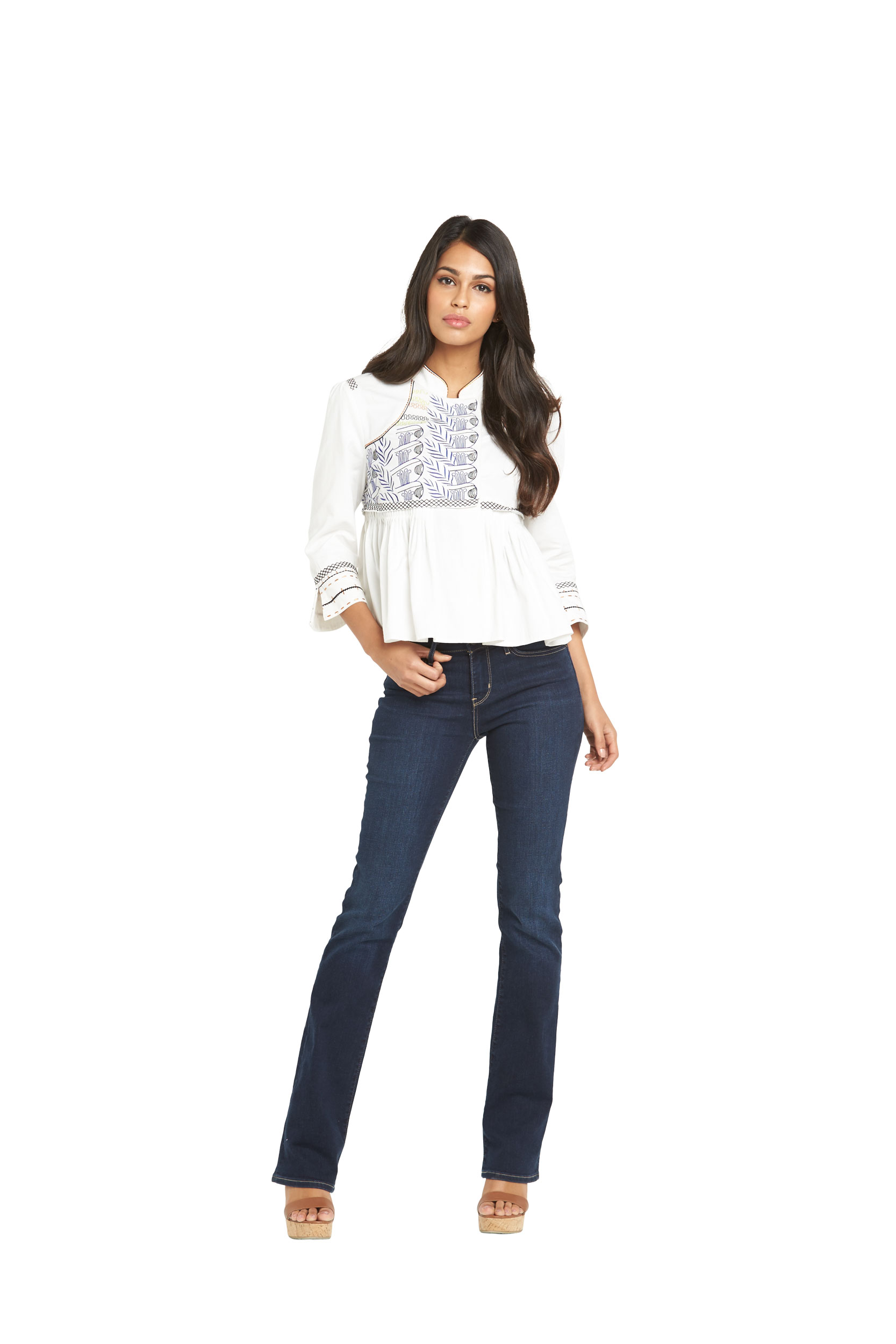 South Embroidered Folk Open Blouse