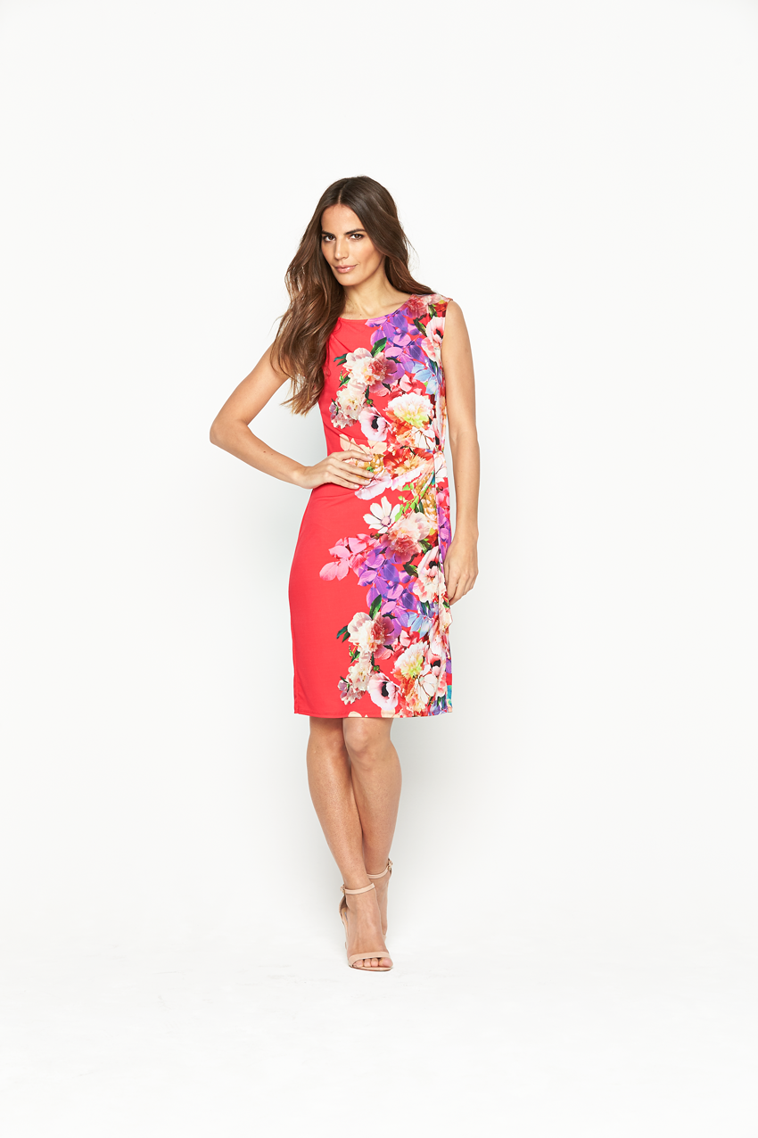 Wallis Coral Digital Tie Side Dress
