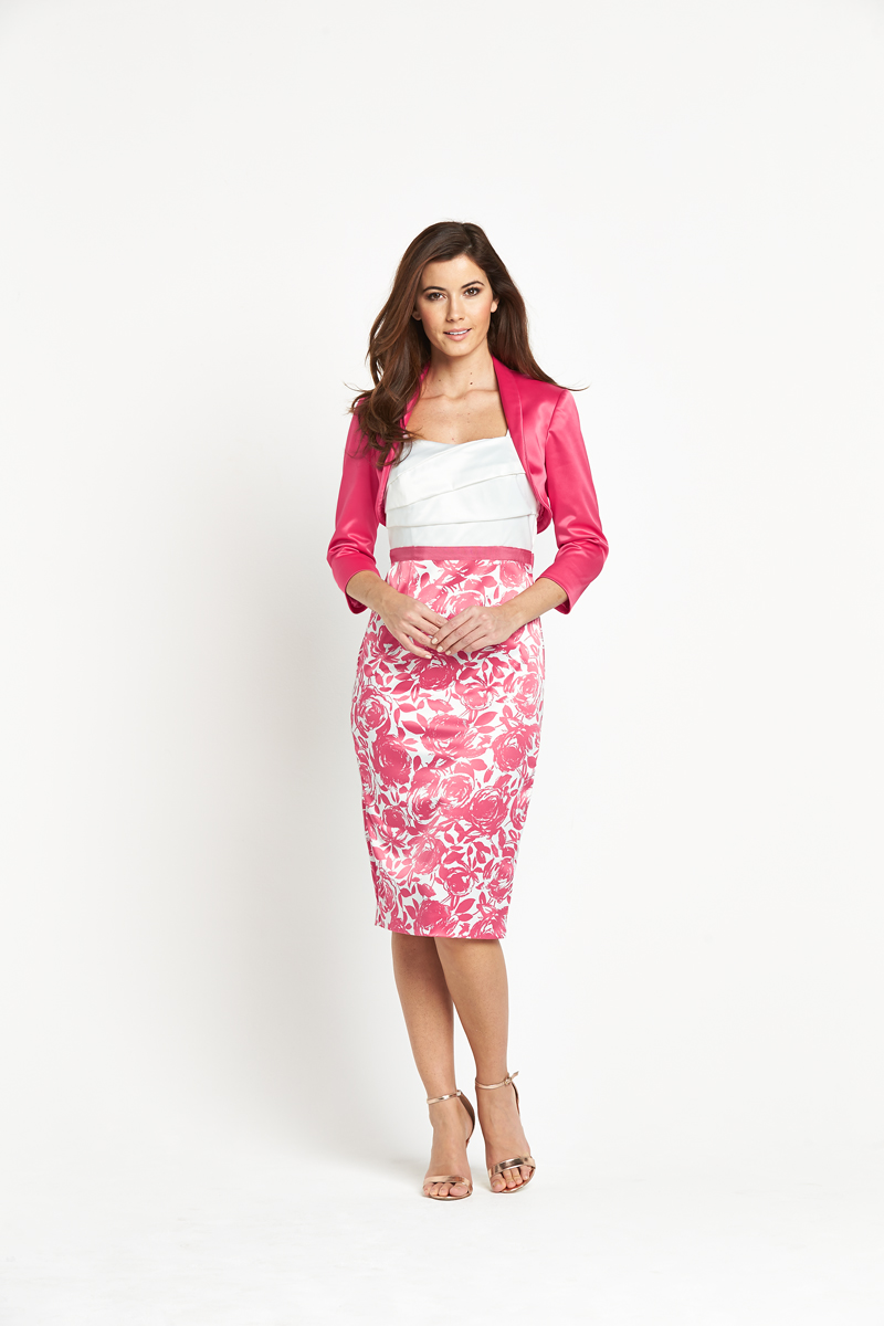 Berkertex Coral Rose Print Suit Dress