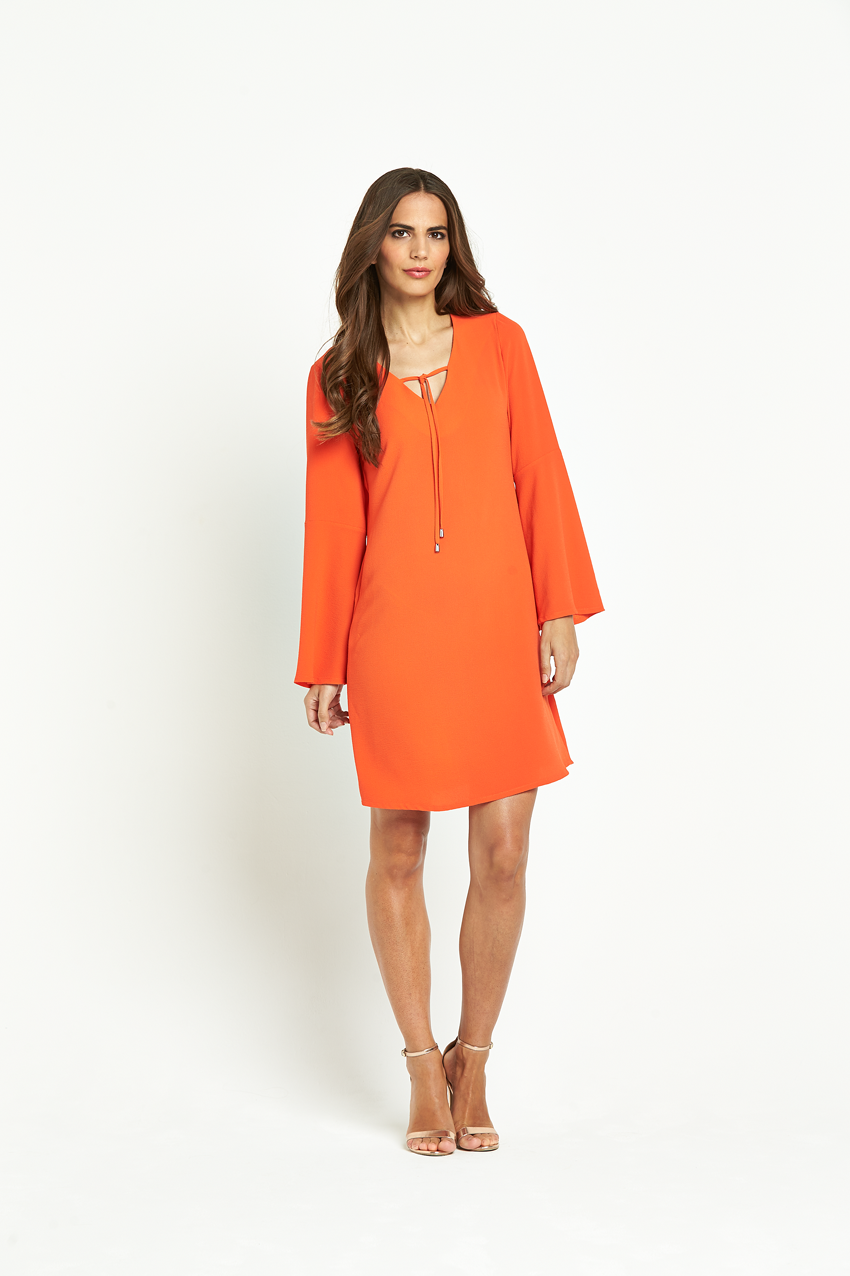 Wallis Bell Sleeve Plain Tie Neck Dress