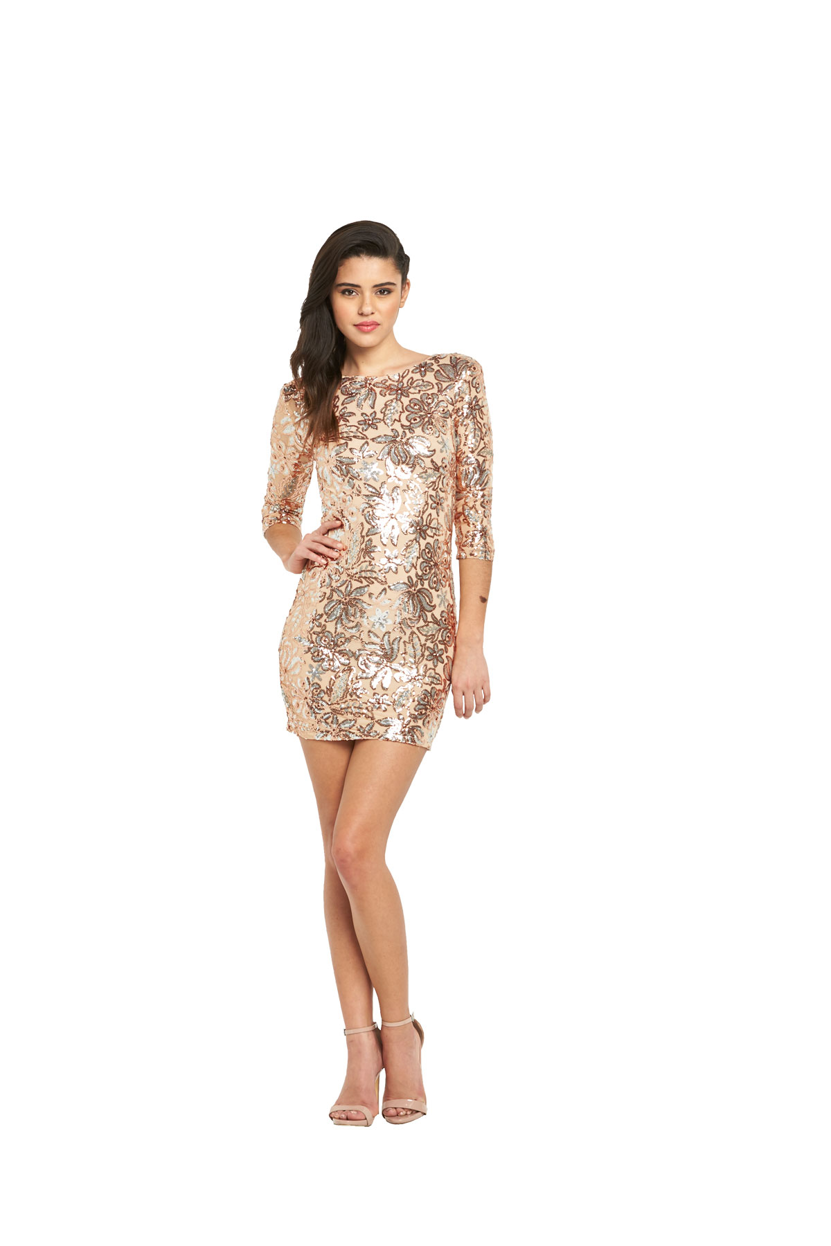TFNC Paris Floral Sequin Bodycon Dress