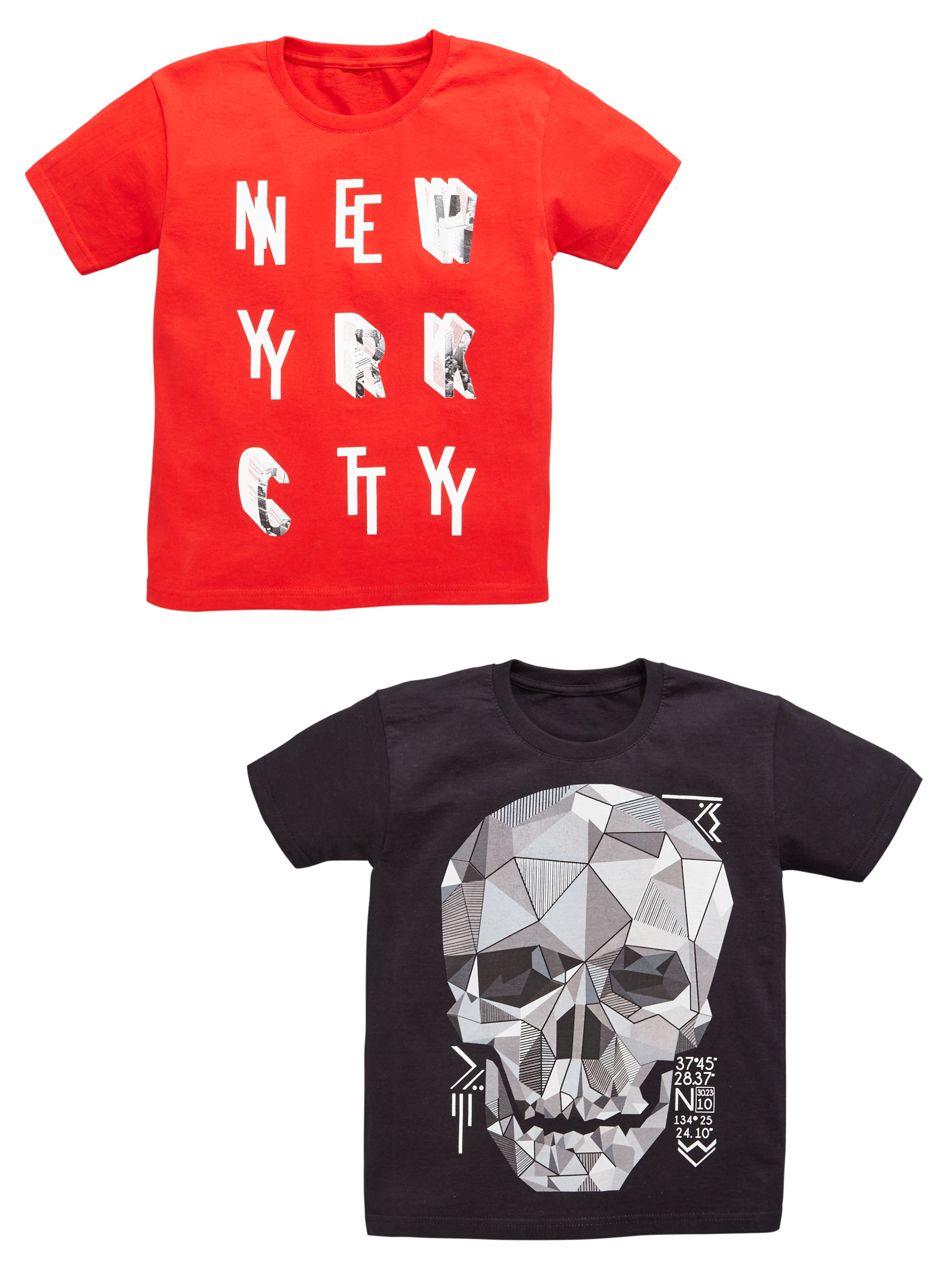 V By Very 2 Pack of Skull  NYC T-Shirts.