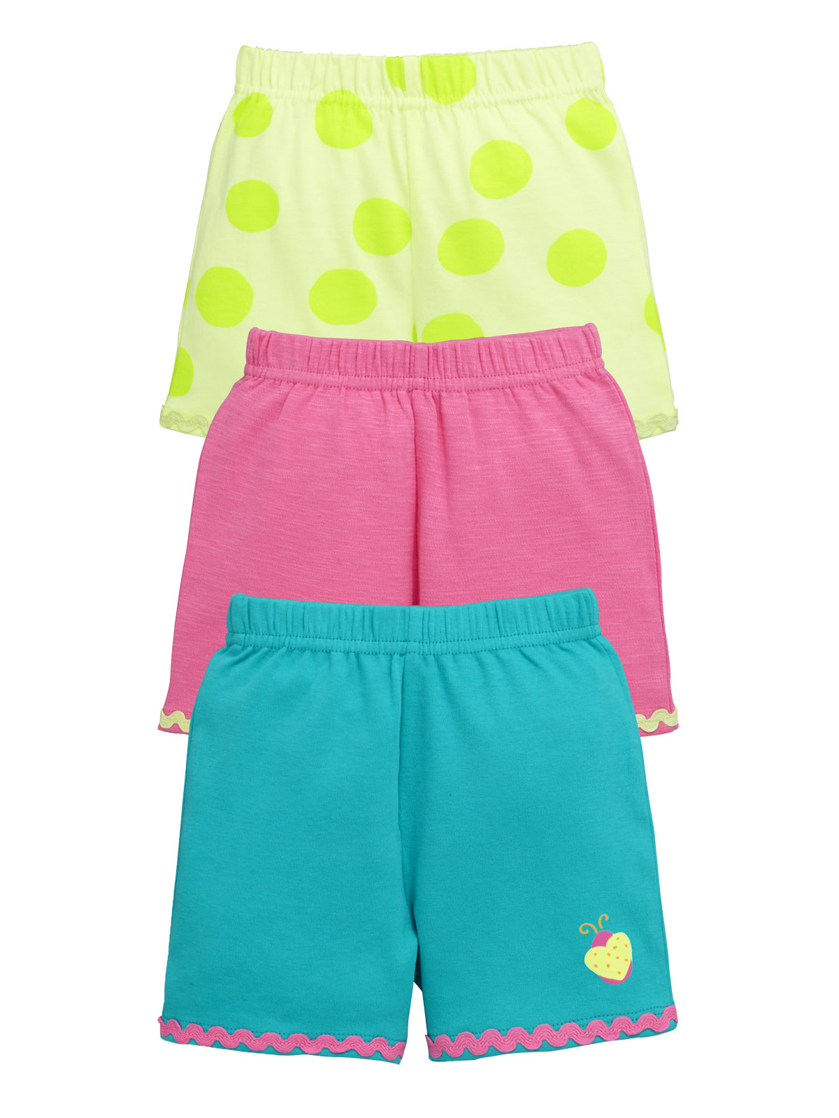 Ladybird Baby Girls Pack of Three Bright Summer Shorts