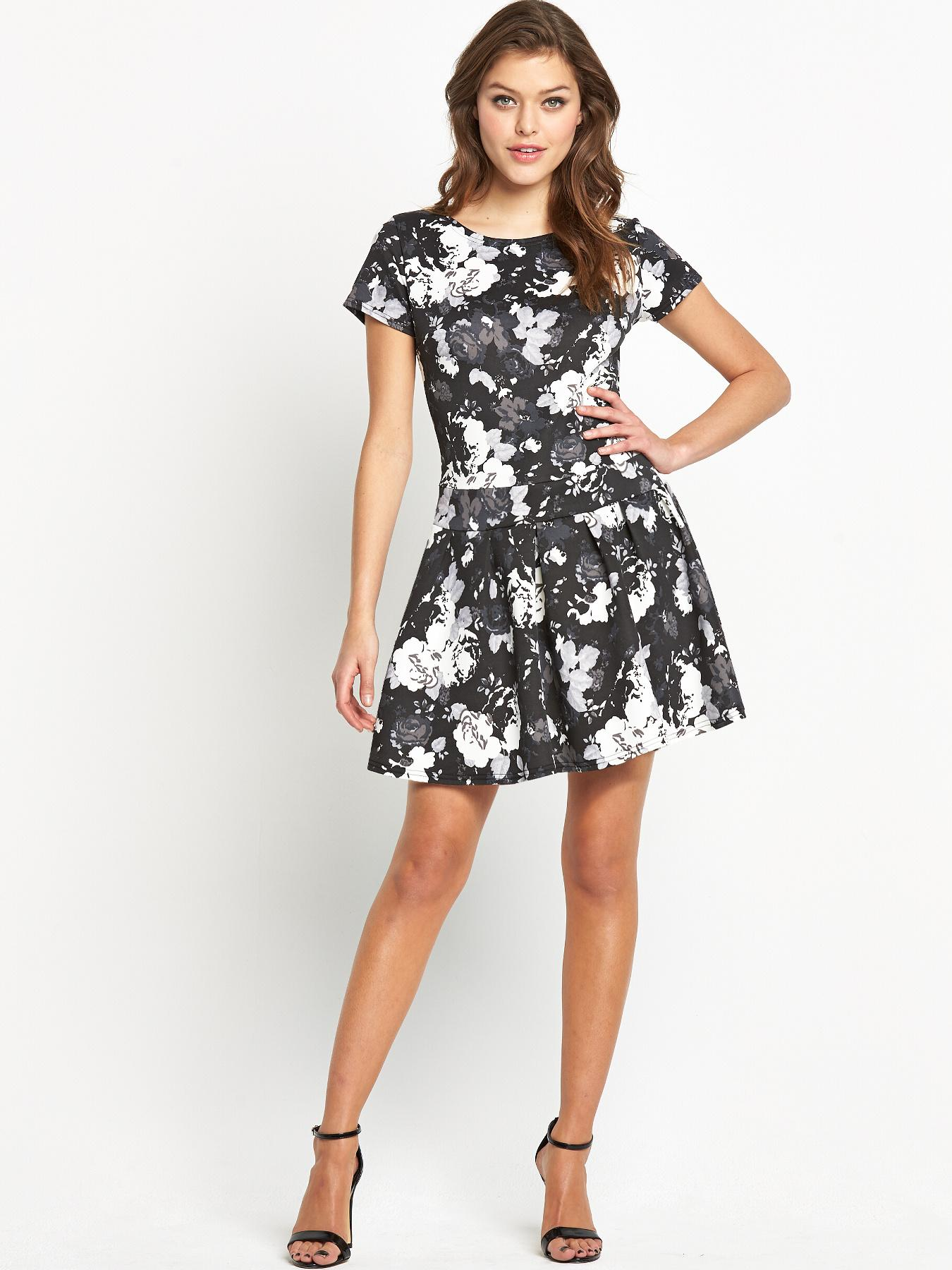 Club L Monochrome Floral Drop Waist Dress