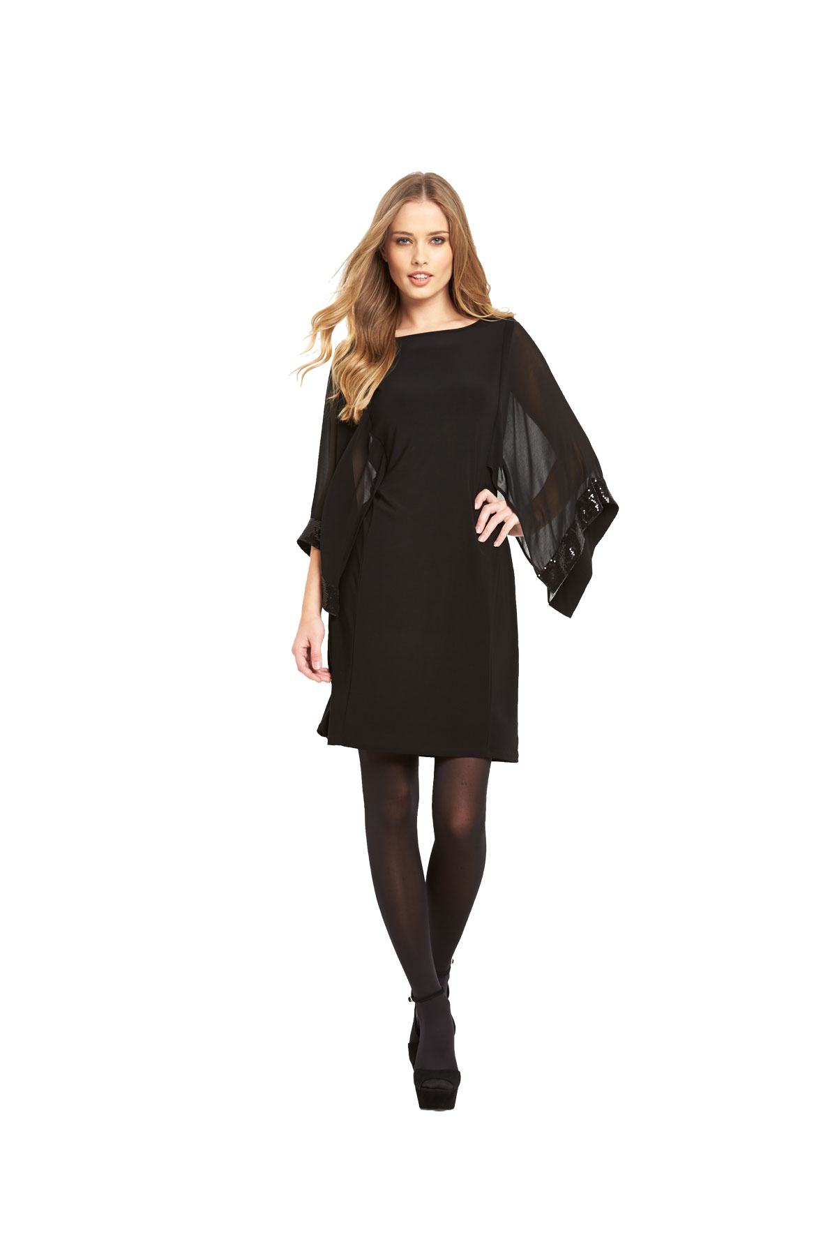 Wallis Cape Sequin Sleeve Tunic