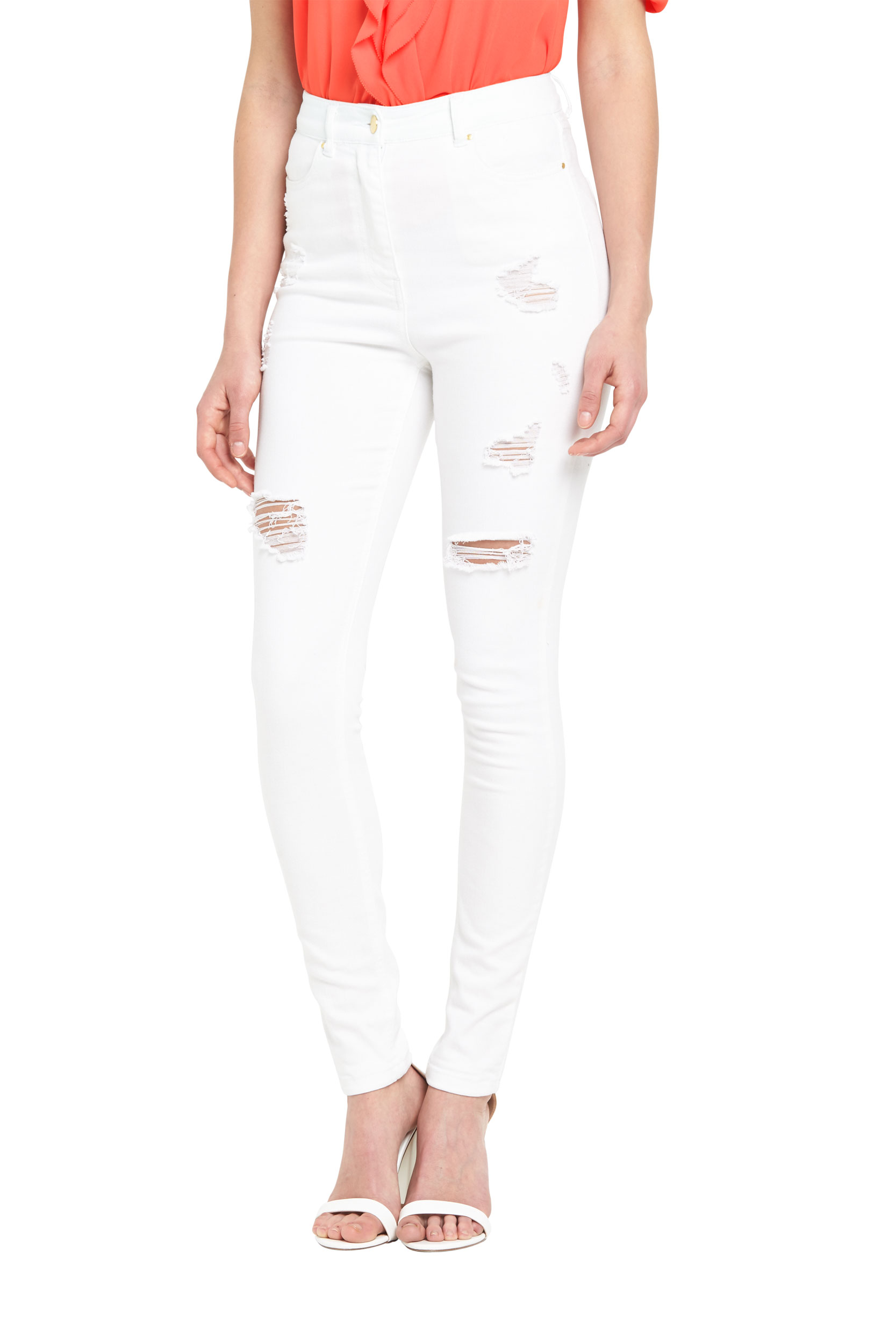 V By Very High Waisted Ripped Skinny Jeans