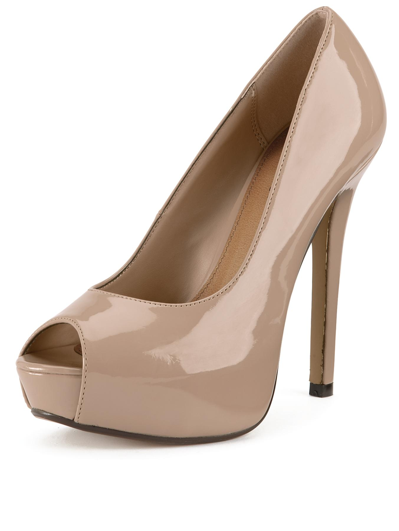Shoe Box Ferrera Open Toe Platform Court Shoe