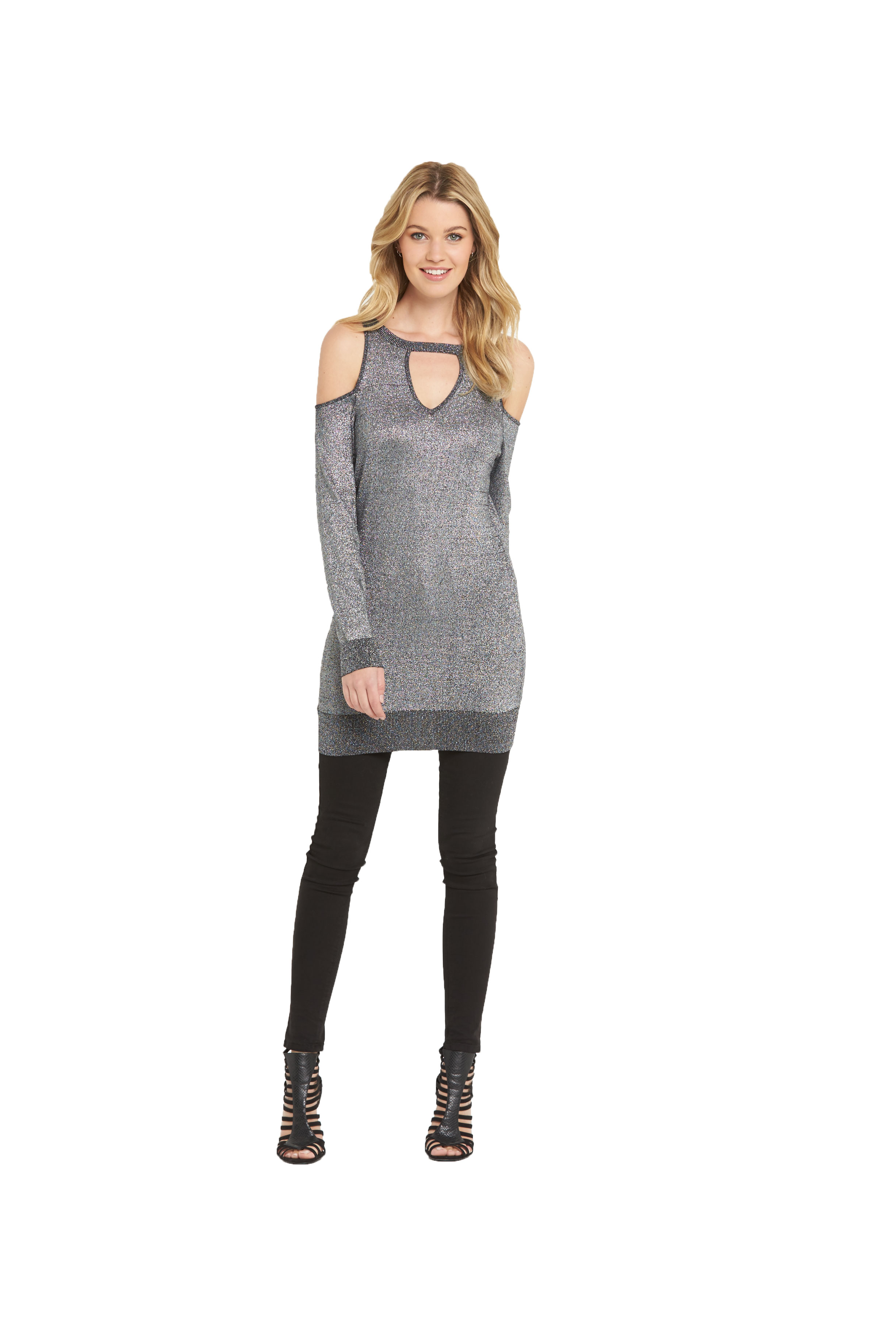South Cut Out Cold Shoulder Metallic Tunic