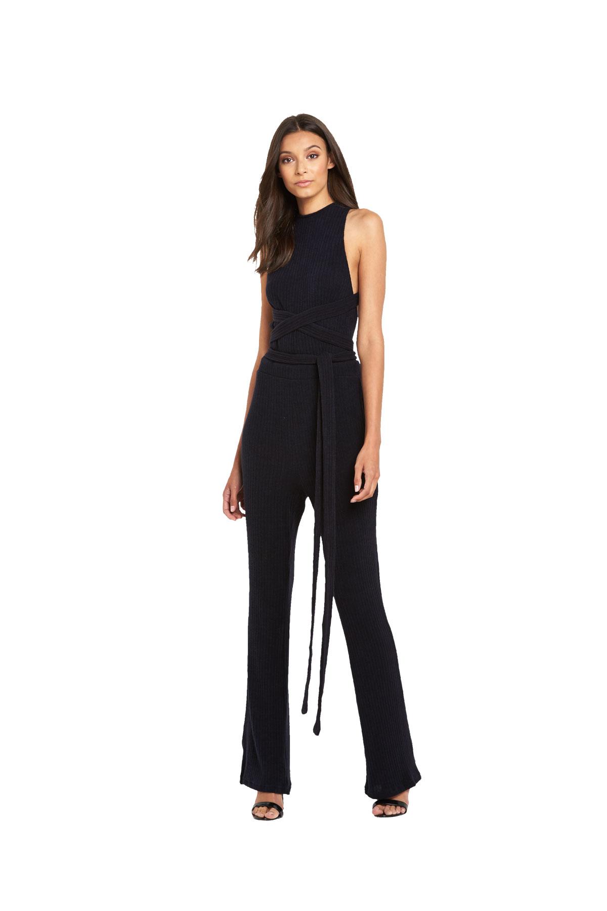 Lavish Alice Rib Knit Open Back Wrap Tie Flared Leg Jumpsuit