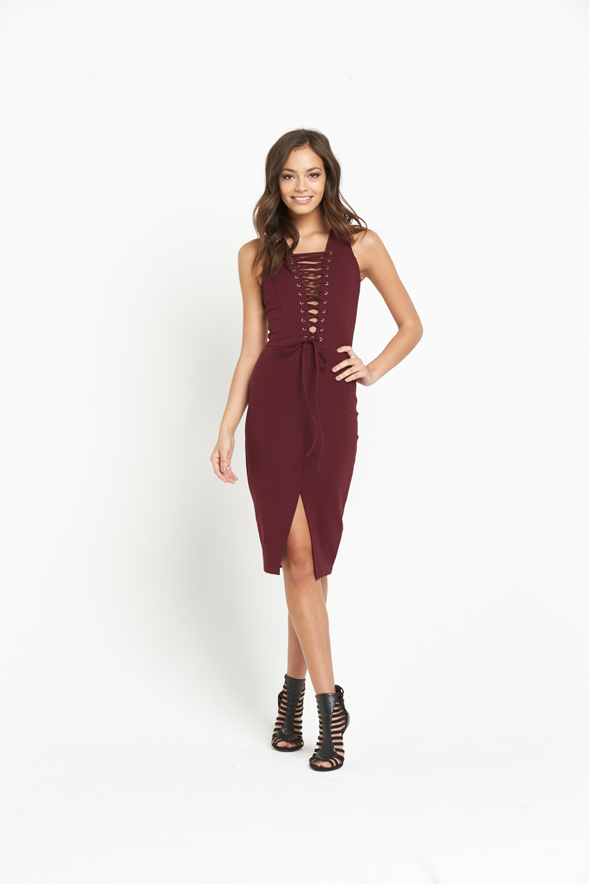 Lavish Alice Deep Plunge Lace Up Dress