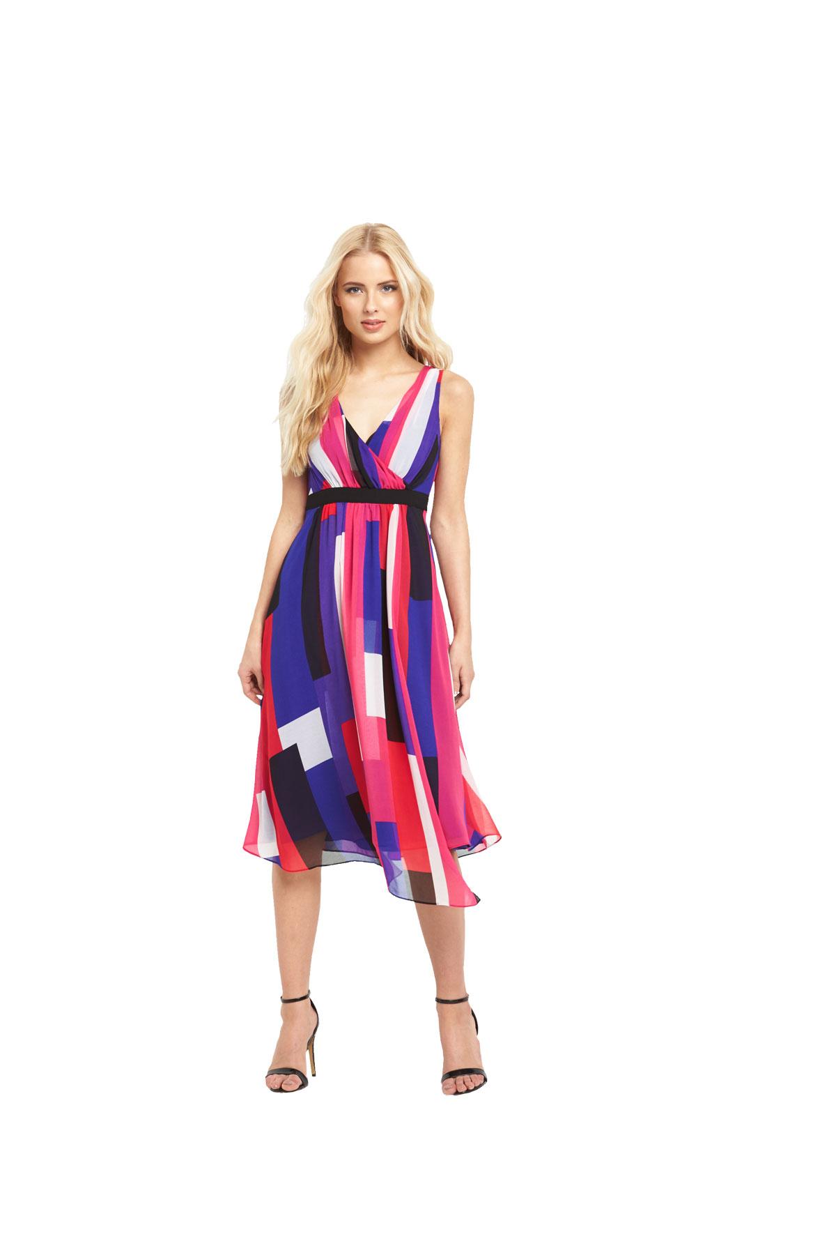 V By Very Colour Block Asymmetric Midi Dress.