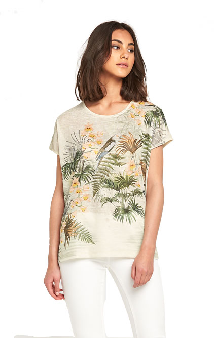 Warehouse Exotic Bird Print T-Shirt