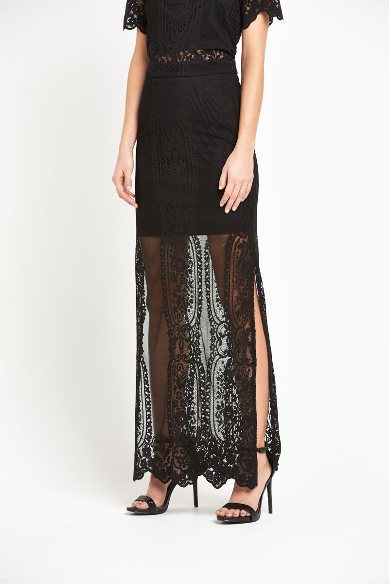 Miss Selfridge Black Lace Maxi Skirt
