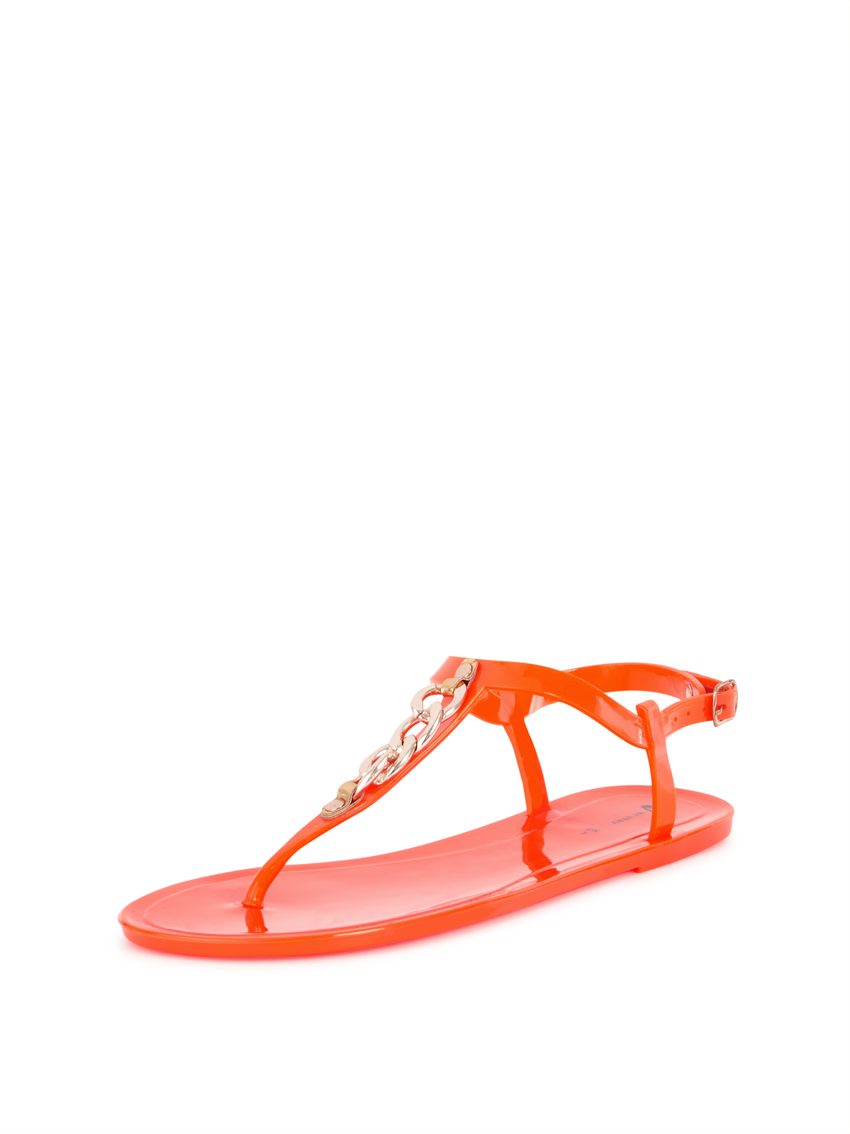 V by Very Farren Chain Detail Jelly Toepost Sandals.