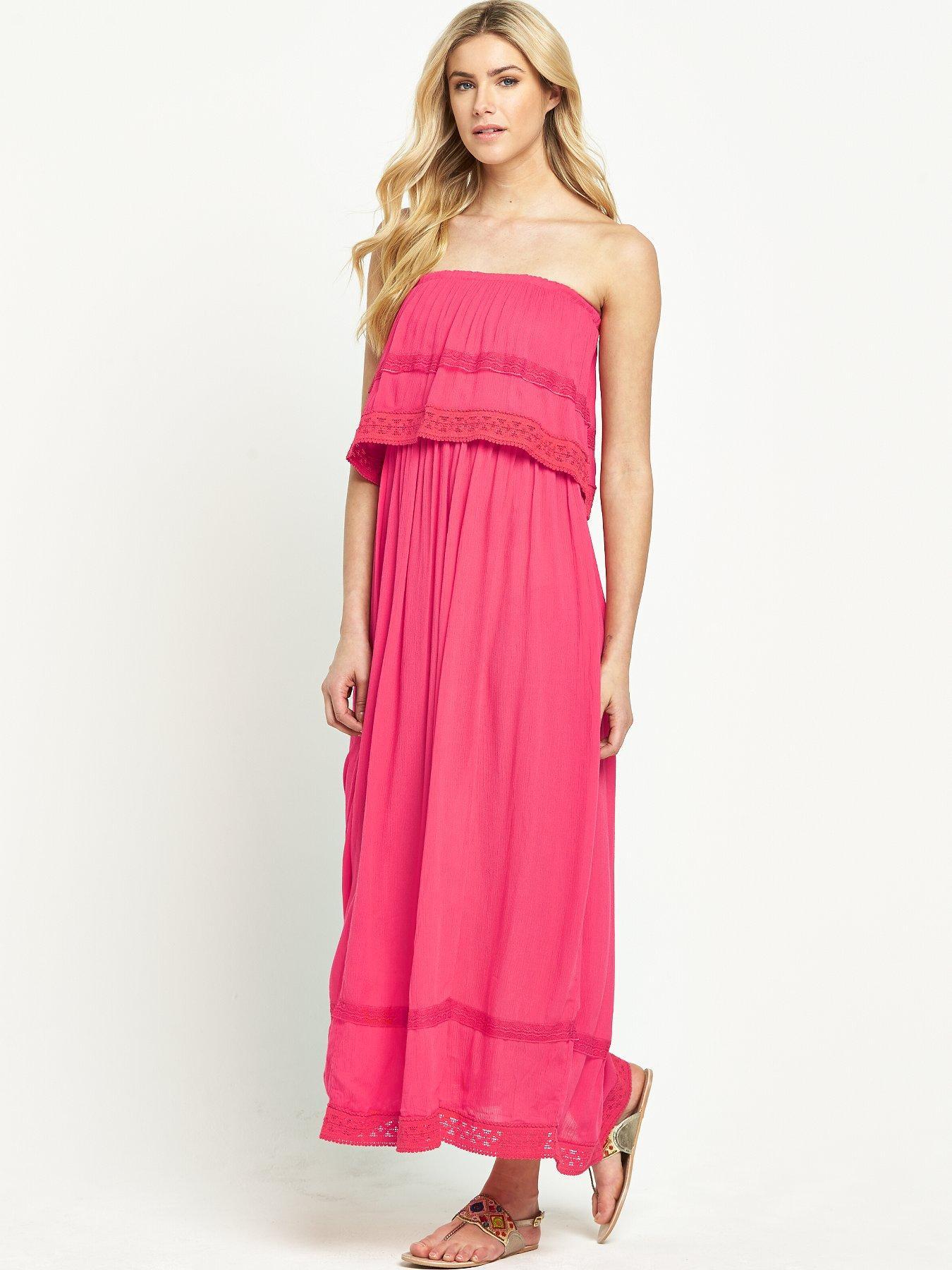 South Crinkle Bandeau Maxi Dress