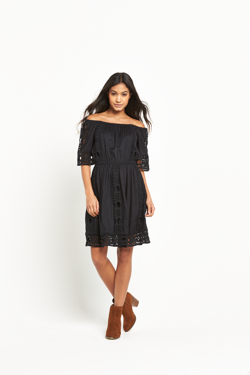 Miss Selfridge Black Bardot Lace Dress