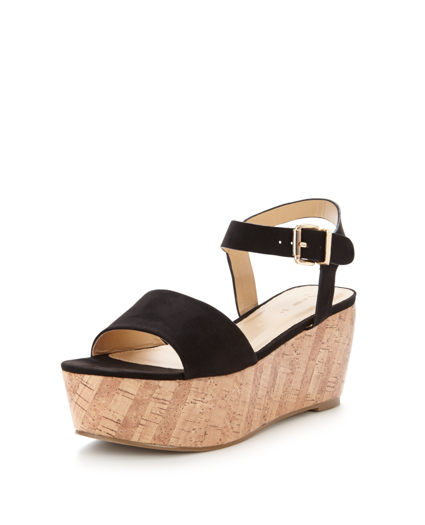 V by Very Ridge Cork Wedge Flatform Sandals.