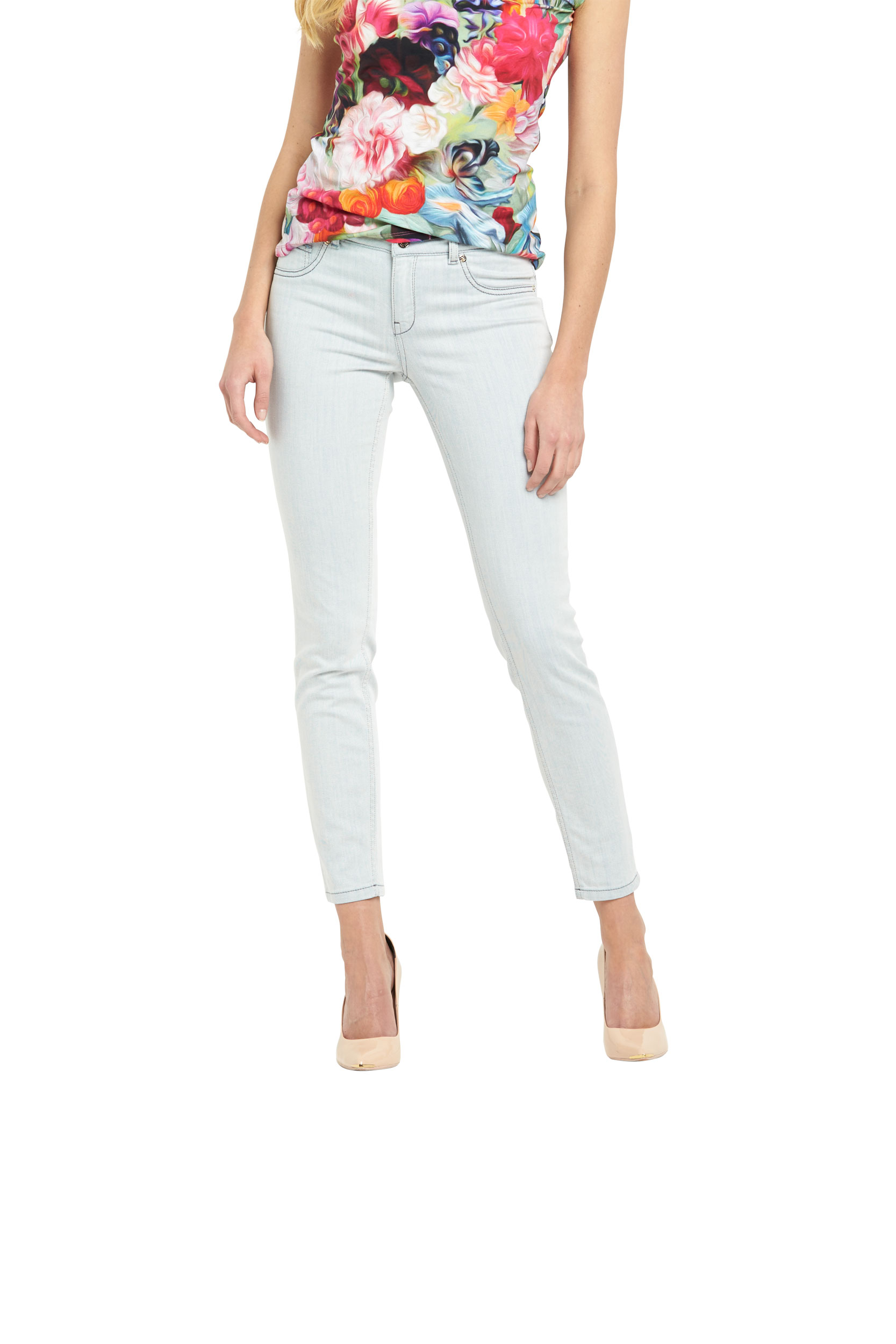 Ted Baker Skinny Pale Turn Up Denim Jeans