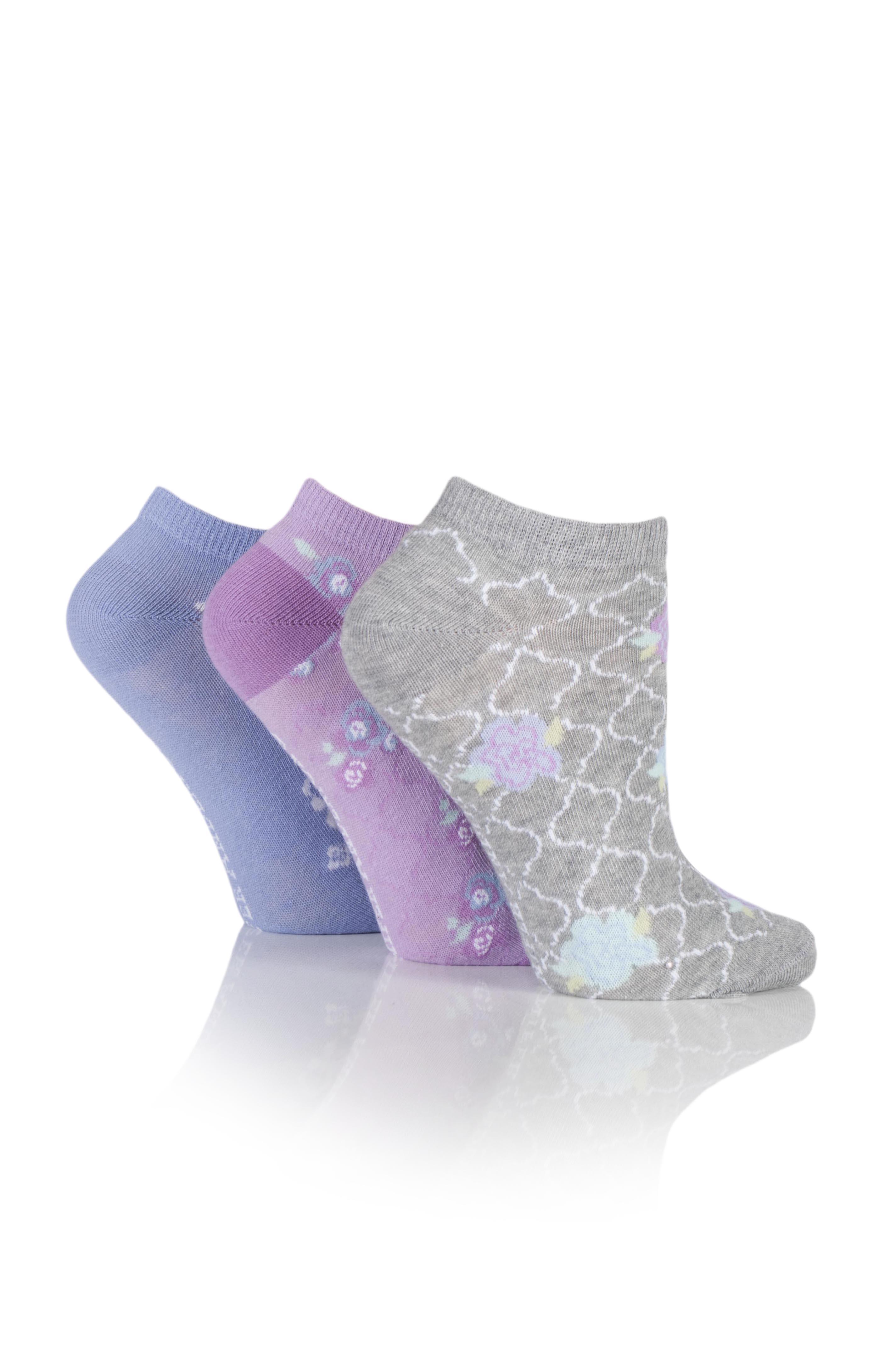 Jennifer Anderton Pack of 3 Floral Pattern Trainer Socks
