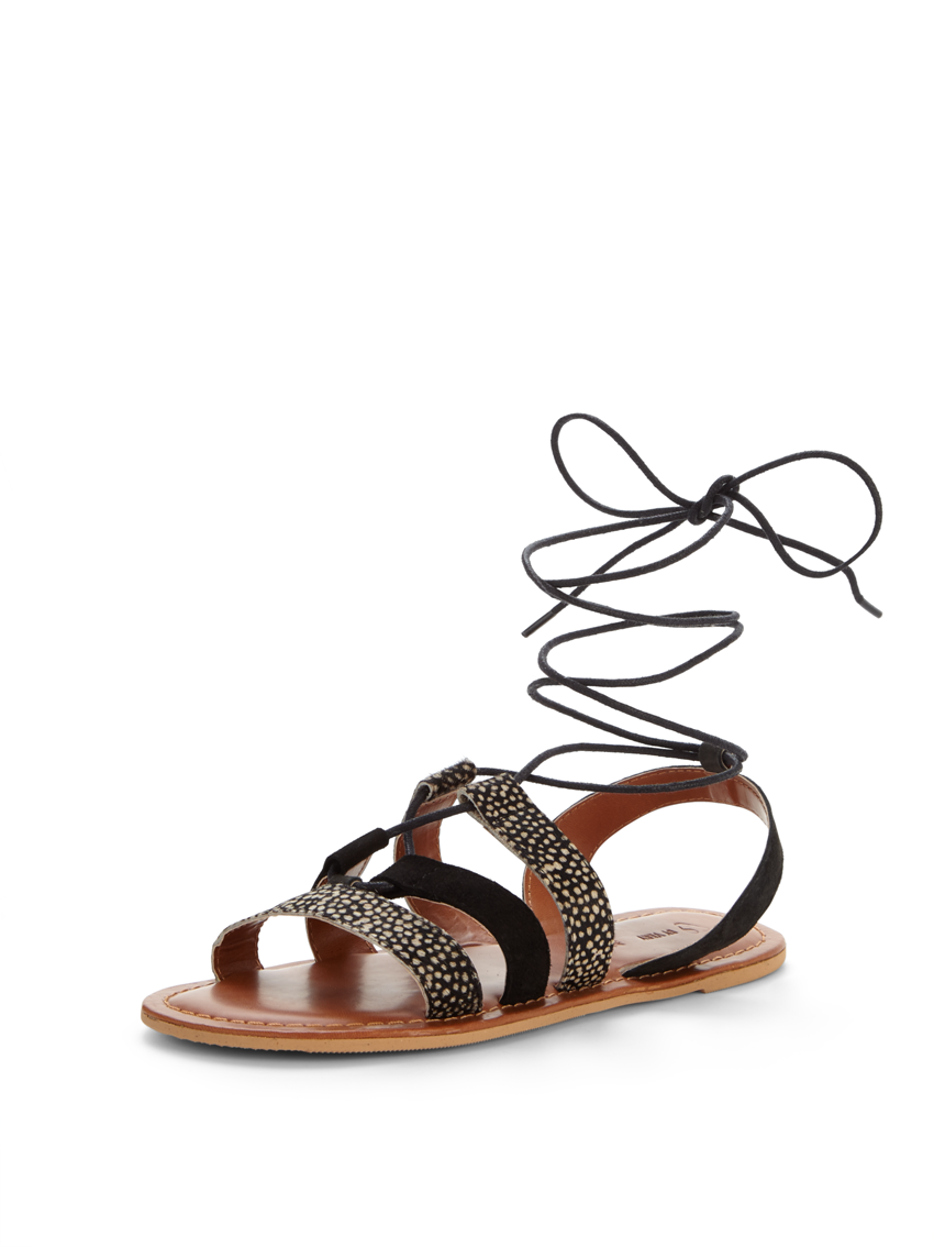 V by Very Carolina Animal Ghillie Tie Flat Sandals