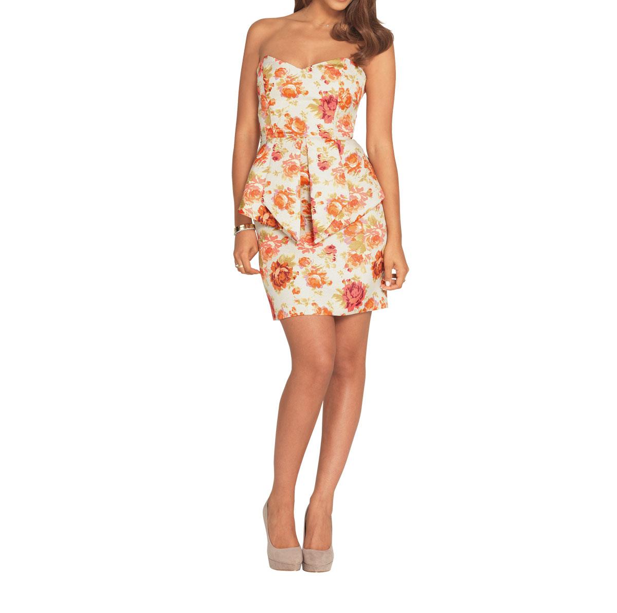 Very Floral Jacquard Peplum Mini Dress.