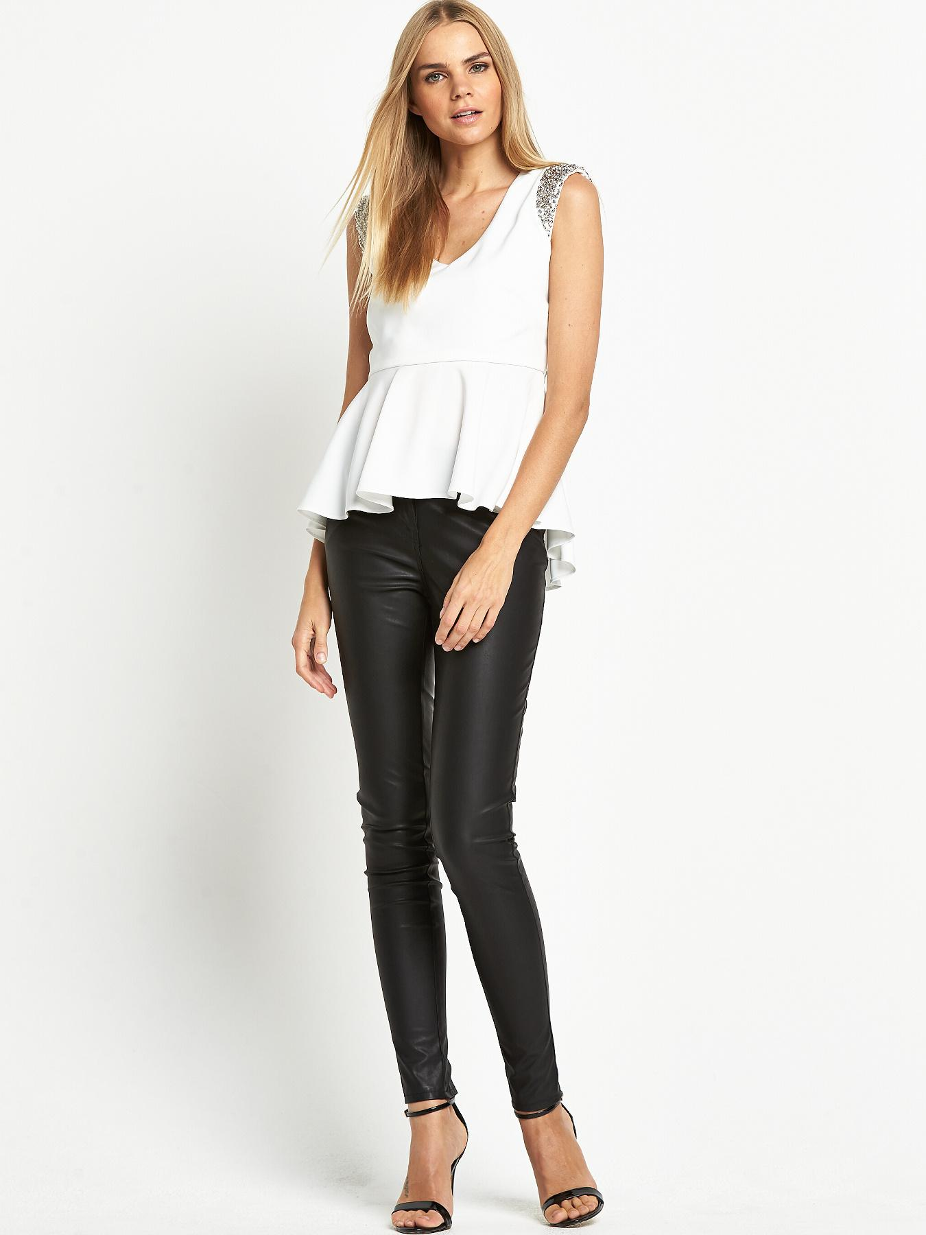 Love Label Diamante Padded Shoulder Top
