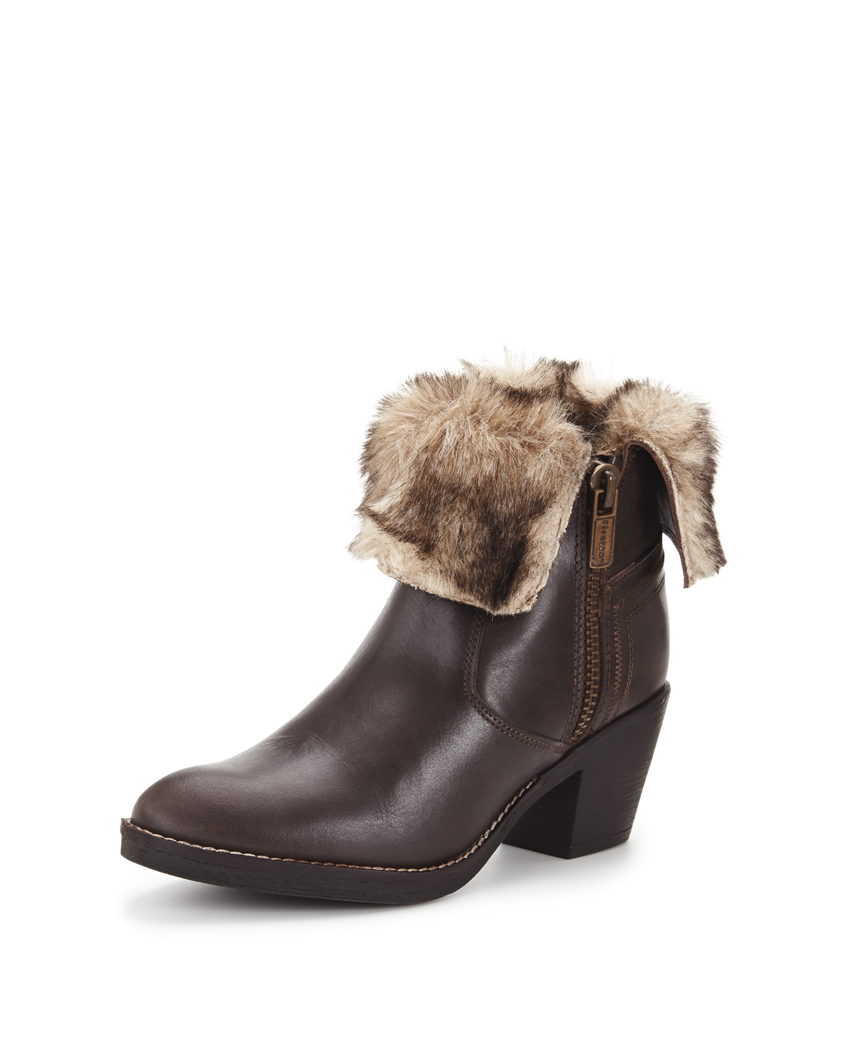 Firetrap Shine Leather Faux Fur Trim Ankle Boots