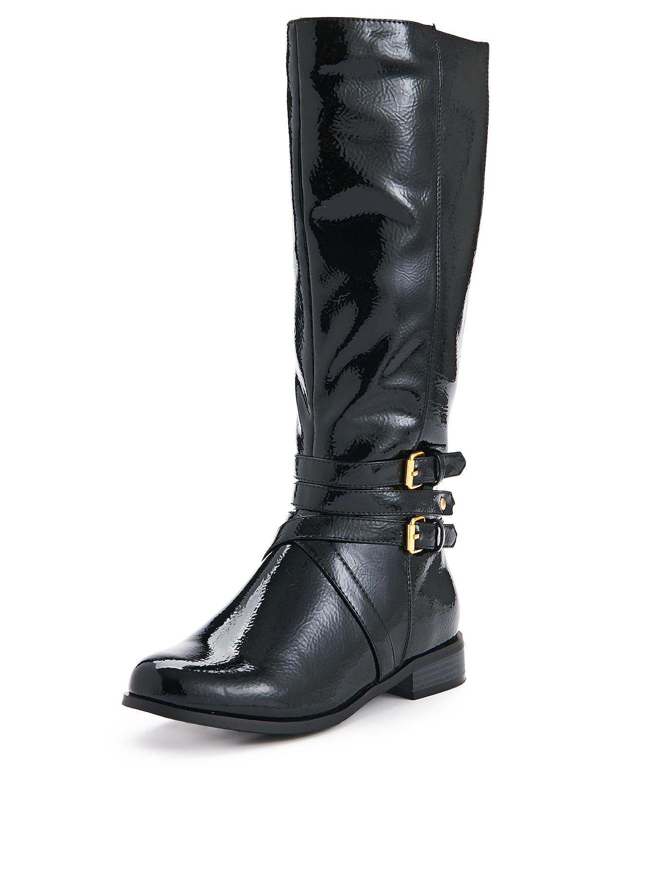 Shoe Box Adelaide Buckle Detail Patent Standard Fit Riding Boot