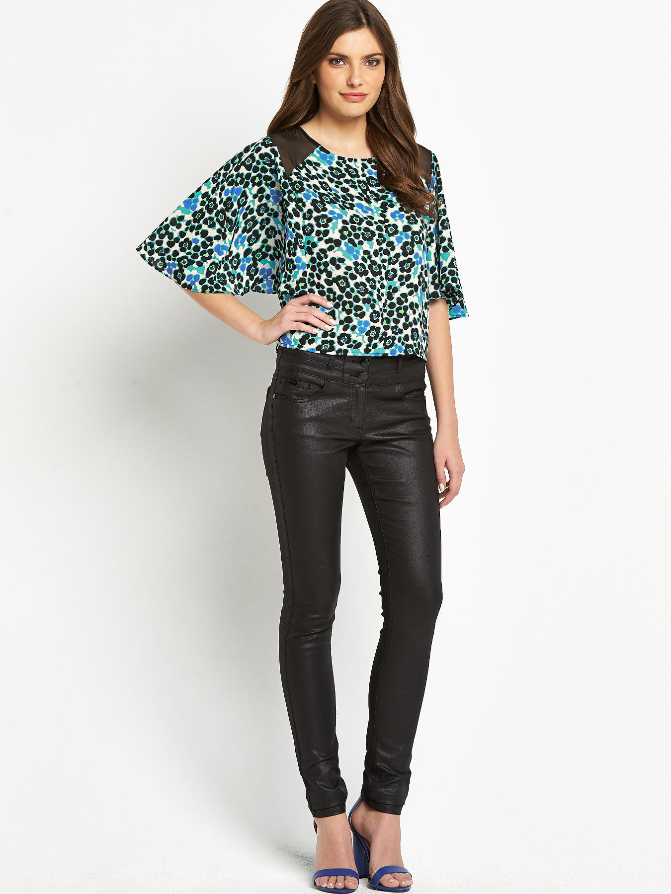 Definitions Angel Sleeve Printed Chiffon Blouse