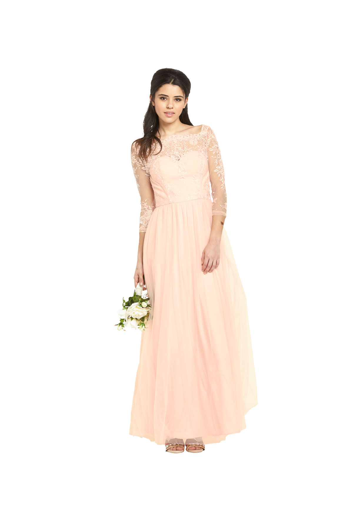 Chi Chi London Premium Lace Bardot Maxi Dress